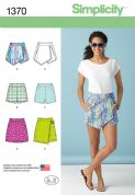 1370 Simplicity Pattern: Misses' Shorts, Skort and Skirt